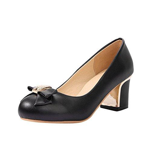 Pied De Charme Womens Doux Mi Talon Chunky Pompes Chaussures Noir
