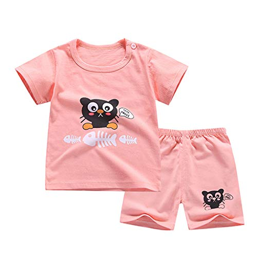 0-5T Toddler Infant Baby Boys Cute Animal Print Layette Sets 2pcs Animal  Print Short Sleeve Shirt Plaid Stripe Pants Outfits (Hot Pink, 3-6 Months)