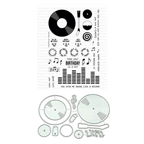 (ShapeW Music CD Clear Stamps with Dies for Scrapbooking and Card Making DIY Photo Album Decor Cards (Clear Stamps+Dies Cutting))