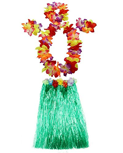 AniiKiss 1 Set 60cm Adult Hula Grass Skirt Hawaiian Party Costume Luau Dance Skirts (Green) ()