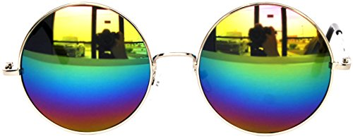 Round Multicolor Mirrored Lens Sunglasses Silver Metal - Sunglasses Hippie