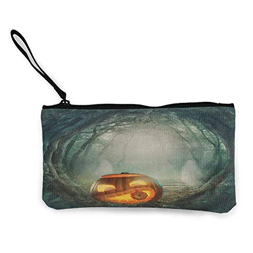 Halloween,Small Purse Wallets Drawing of Scary Halloween Pumpkin Enchanted Forest Mystic Twilight Party Art W 8.5