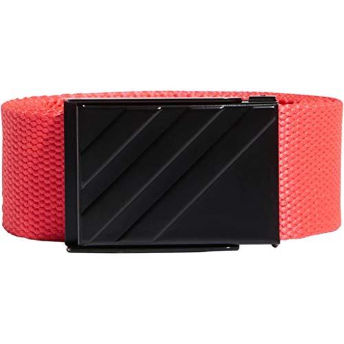 (adidas Golf 2019 Mens Lightweight Metal Buckle Clamp 3 Stripe Webbing Belt Shock Red One Size)