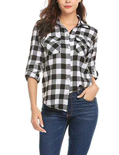 Black and White Casual Slim Shirt Women Long Sleeve Plaid Flannel Top Plus Size