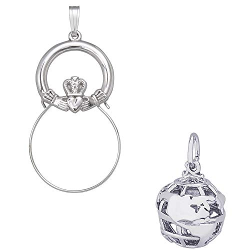 (Rembrandt Charms Globe Charm on a Rembrandt Charms Claddagh Charm Holder)