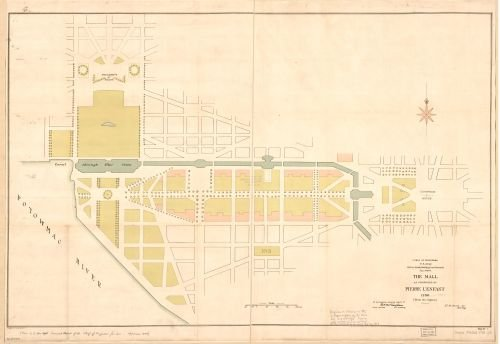 1791 Map The Mall as proposed by Pierre L'Enfant 1790 : from the original : Washington D.C. - - Of Store Map America Mall
