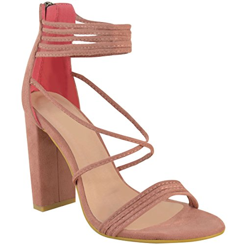 High Pink Size Heel Shoes Evening Faux Toe Womens Strappy Thirsty Suede Peep Pastel Block Fashion Chunky qwITgO