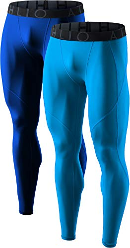 ATHLIO Men's (Pack of 2) Cool Dry Compression Pants Active Sports Baselayer, 2pack(blp05) - Blue/Sky, Medium