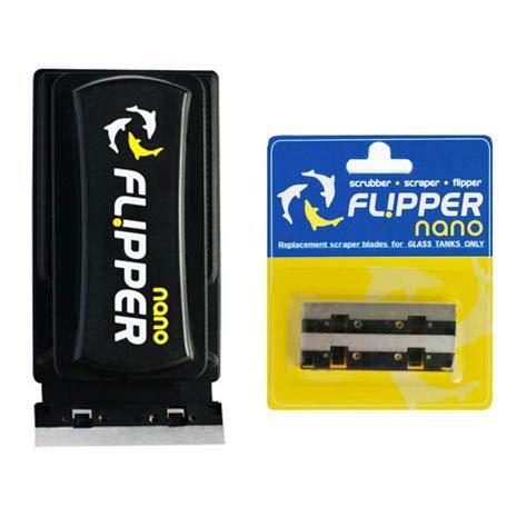 Flipper Nano 2 in 1 Magnet Aquarium Algae Cleaner (Glass Only) & Replacement Metal Blades Bundle