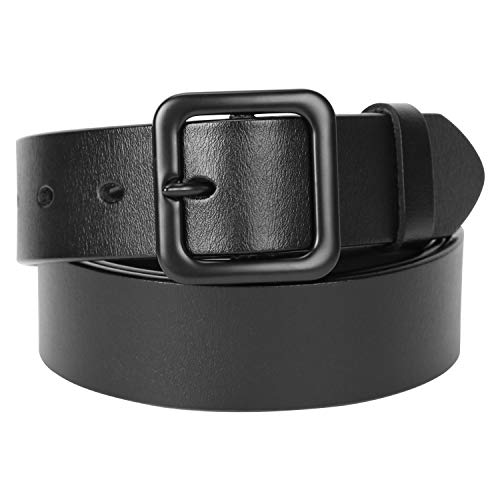 Womens Black Leather Belt For Jeans Genuine Real Leather Waist Belts With Square Pin Buckle Ladies Fashion Dress Vintage Belts for Pants (Leather Square Buckle Belt)