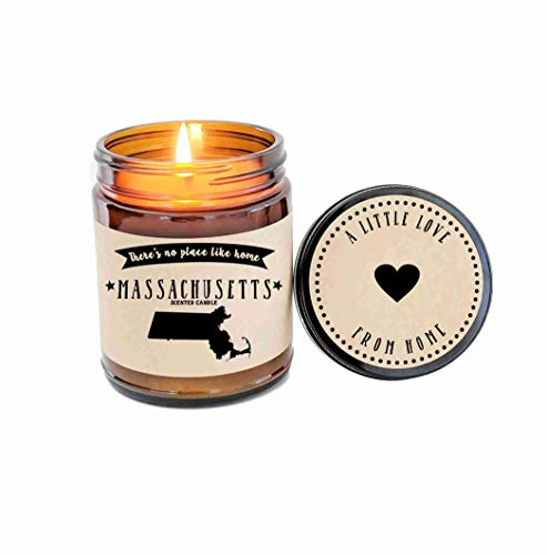 Massachusetts Scented Candle Missing Home Homesick Gift Moving Gift New Home No Place Like Home State Candle Thinking of You Valentines Day Gift