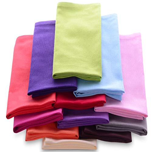 Cotton Dinner Napkins Cloth 20 x 20 100% Natural Bulk Linens for Dinner, Events, Weddings - Magenta, Lime, Ming Red, Stone, Black, Lavender, Grape, Orange, Teal, Navy, Mustard & Leaf, Set of 12]()