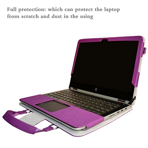 Pavilion x360 14 Case,2 in 1 Accurately Designed Protective PU Leather Cover + Portable Carrying Bag for 14