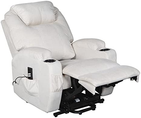 Cavendish electric riser and recliner chair with drink holders choice of colours (Cream) rise and recline