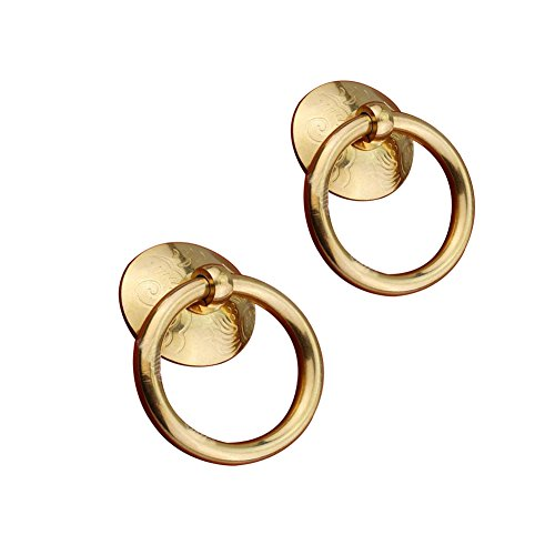 Eforlike 2 Pcs Solid Brass Cupboard Closet Drawer Medicine-Chest Knobs Single Hole Handles (Brass Tone) ()