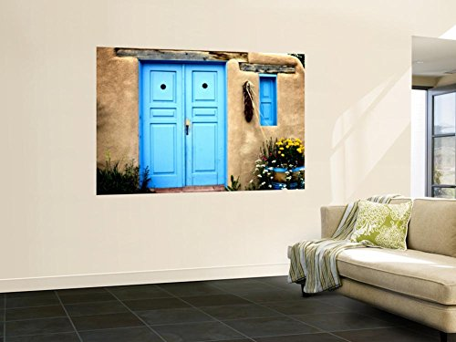 Blue Door on Adobe Building Wall Mural by Ray Laskowitz 48 x 72in