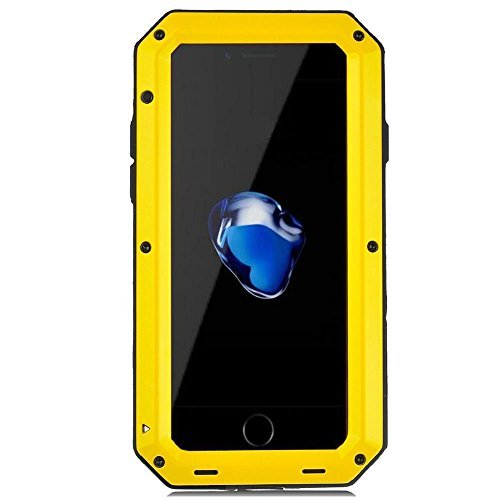 iPhone 8 Plus Case iPhone 7 Plus Case, CarterLily Full Body Shockproof Dustproof Waterproof Aluminum Alloy Metal Gorilla Glass Cover Case for Apple iPhone 7 8 Plus 5.5 inch (Yellow.) ()