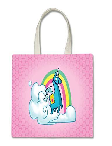 Rainbow Unicorn Pink Background Design Halloween Trick Or Treat Polyester White Tote Bag 15x16x 3.5