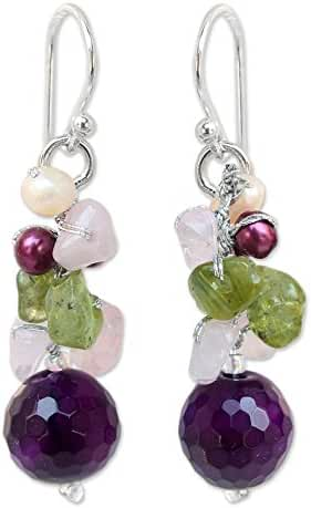 NOVICA Dyed Cultured Freshwater Pearl Cluster Earrings with Agate, Quartz and Peridot, 'Princess Legend'