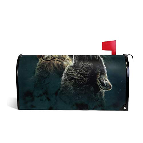 Magnetic Mailbox Covers Wolves Howling to The Moon PVC Mailbox Cover Letter Post Box Cover -
