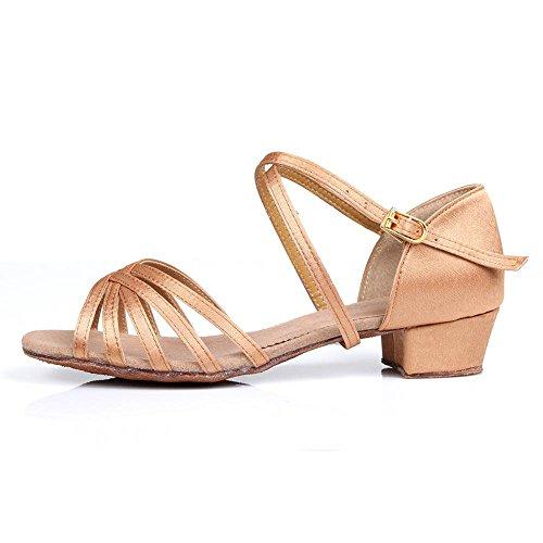 YFF Enfants Chaussures de danse latine Chaussures de danse de bal Tango pour les femmes Beige1 2B79MLFW