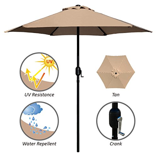 ABBLE Outdoor Patio Umbrella 7.5 Ft with Crank, Weather Resistant, UV Protective Umbrella, Durable, 6 Sturdy Steel Ribs, Market Outdoor Table Umbrella, Tan