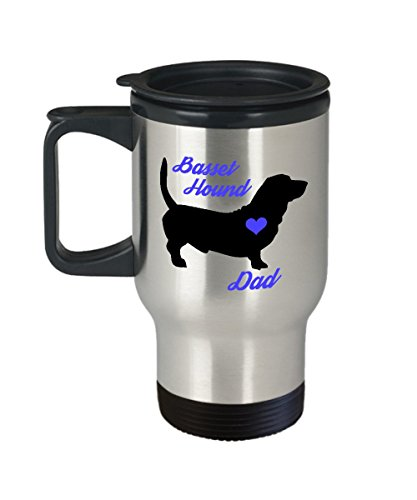 Basset Hound Dad Travel Mug - Insulated Portable Coffee Cup With Handle And Lid For Dog Lovers - Nice Christmas Gift Idea For Men - Novelty Animal Lover Quote Statement Accessories