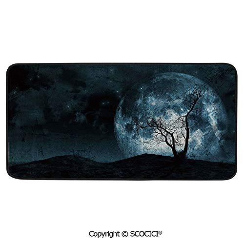 Soft Long Rug Rectangular Area mat for Bedroom Baby Room Decor Round Playhouse Carpet,Fantasy,Night Moon Sky with Tree Silhouette Gothic Halloween Colors,39