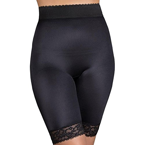 f4b1fb7c5f Rago Shapewear Long Leg Shaper with Gripper Stretch Lace Bottom Black Small