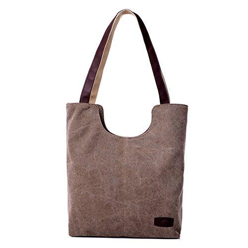 Hiigoo Simple Portable Bags Canvas Tote Bag Casual Shoulder Bag Bigger Handbag (Brown) Casual Purse