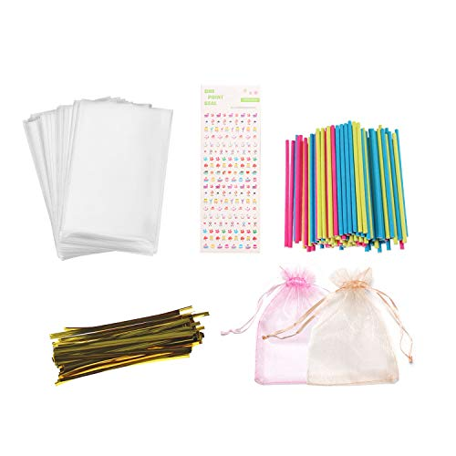 Lollipop Making Kit-399 PCS Cake Pops Making Accessories including Lollipop Sticks,Wrappers, Metallic Twist Ties to Make Your Own Lollipops Candies Chocolates and Cookies for Your Kids -