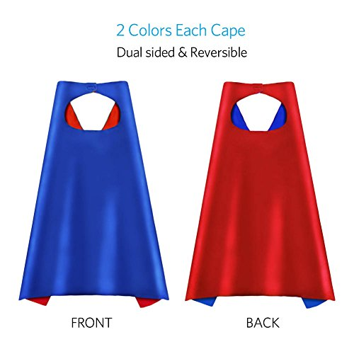 Amazon com superhero capes party dress up cape reversible dual color party costume with 100 superhero stickers for kids 8 packs toys games