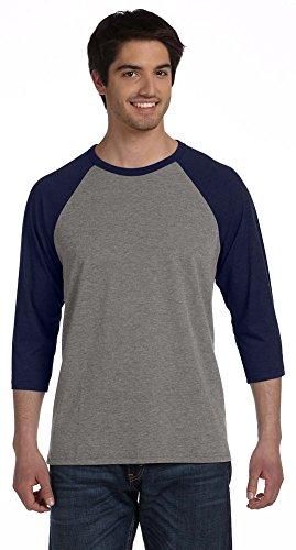 Bella mens Unisex 3/4-Sleeve Baseball T-Shirt(3200)-GREY/NAVY TRIBLEND-2XL