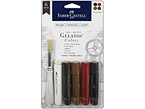 Faber Castell  Design Memory Craft Gelatos Color & Clear Stamp,  Steampunk - 4 Colors Per Set