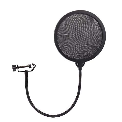 Nulink Microphone Pop Filter Dual Layer Mesh Shield with Swivel Mount 360 Flexible Gooseneck Clip Stabilizing Arm