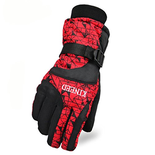 Runtlly Men's Outdoor Skiing Gloves Winter Warm Gloves Full Finger Waterproof Gloves Athletic Gloves 01-Red