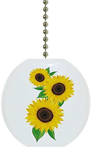 Pretty Sunflowers Floral Solid Ceramic Fan Pull ()