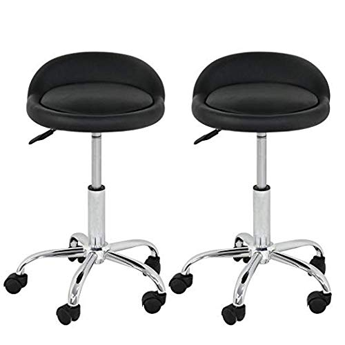 HomGarden Adjustable Hydraulic Rolling Swivel Stool for Massage Salon Office Facial Spa Medical Tattoo Chair Stool w/Backrest Cushion & Wheels, Set of 2