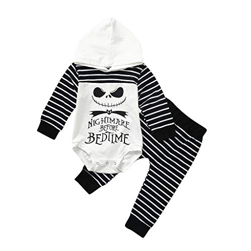 Nightmare Before Christmas Zero Costume Baby (2PCS Newborn Baby First Halloween Outfits Set,Boy Girl Nightmare Stripe Hooded Romper Pants (Age:0-6 Months,)