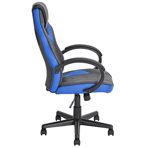 41Te%2BRTkLNL - FurnitureR-Racing-Chair-Ergonomic-Executive-Swivel-Leather-Office-Chair-Racing-Style-Task-Gaming-Chair-High-back-Computer-Support-Chair