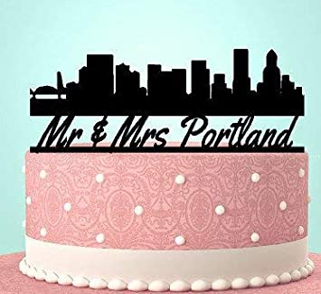 Groovy Portland Skyline Cake Topper Keepsake For The City Wedding Funny Birthday Cards Online Aboleapandamsfinfo