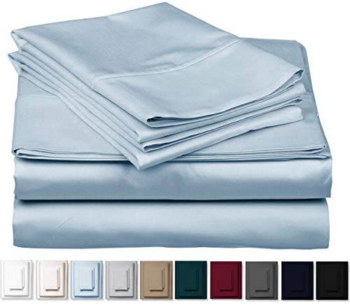 Kemberly Home Collection 1000 Thread Count 100% Pure Egyptian Cotton - Sateen Weave Premium Bed Sheets, 4 -Piece Sky Blue King -Size Luxury Sheet Set, Fits Mattress Upto 18