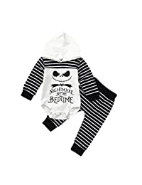 Huarll Baby Boy and Girl Clothes, Nightmare' Skull Letter Printed Long Sleeve Hooded Romper + Striped Leggings Set