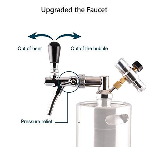 64OZ/128 OZ Mini Keg tap Dispenser Stainless Steelbeer growler faucet/beer keg coupler by HAVEGET (NO.1) by HaveGet (Image #1)