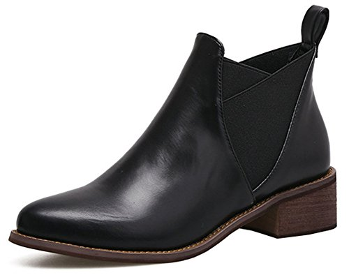 Idifu Kvinna Kausala Spetsig Tå Blocket Låg Klack Dra På Ridning Korta Boots Svart