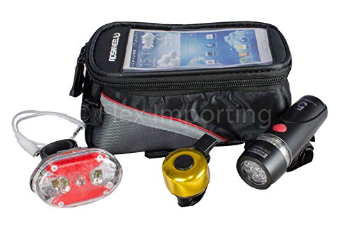 Bike Commuter Kit Includes LED Front & Back Bicycle Lights Set, Bell, Phone Holder Bag – Touchscreen Compatible! – Safety, Visibility, Utility & Convenience – Top Tube Pouch Carry Keys, Wallet – See and Be Seen Night & Day Review