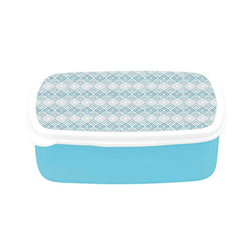 Ikat Simple Plastic Lunch Containers,Aztec Culture Inspired Geometrical Motifs with Cross in the Middle South American Decorative for home,7.09