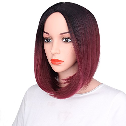 Beauty : AisiBeauty Short Bob Wigs Wine Ombre Women Wig Natural Hair Middle Part Synthetic Wig Heat Resistant Fiber
