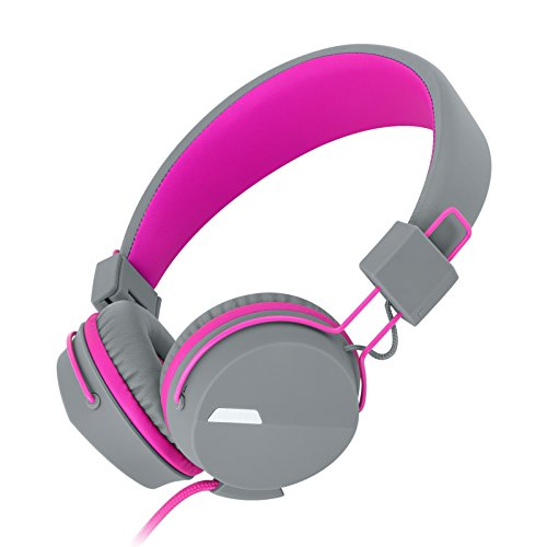 Kanen I39 Headphones On ear Foldable Noise Isolating Headsets with Mic and Remote for Kids Adults (Rosy)