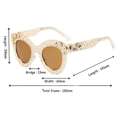 Gafas Gafas de Inlefen sol decorativas Gafas de Eye retro Frame de Marrón sol Sunglasses Dorado Cat Trend sol Trend fAORf8